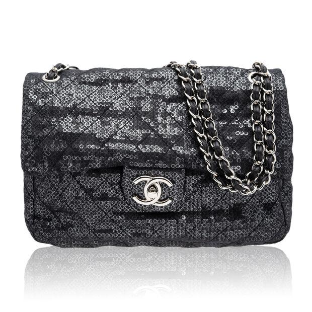 4a4891d87373 Hidden Sequins Mesh Jumbo Classic Flap Bag by CHANEL | StyleTribute.com