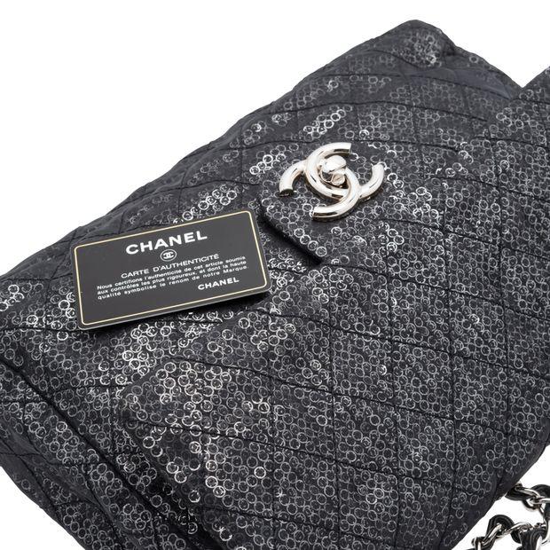 d558fd319ff4 Hidden Sequins Mesh Jumbo Classic Flap Bag by CHANEL | StyleTribute.com