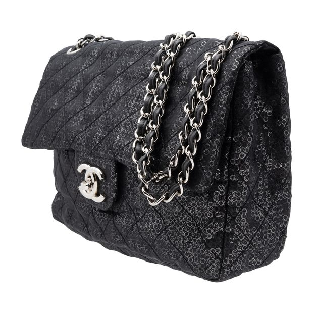 8cd7c26f39e7e9 Hidden Sequins Mesh Jumbo Classic Flap Bag by CHANEL | StyleTribute.com