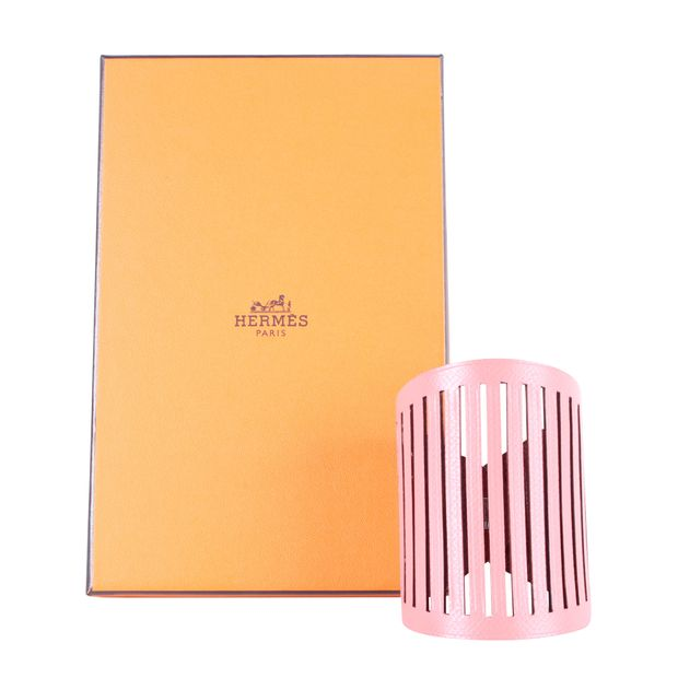 f2097b612a15 Petit h Reversible Leather Cuff in Rouge H Salmon Pink by HERMÈS ...