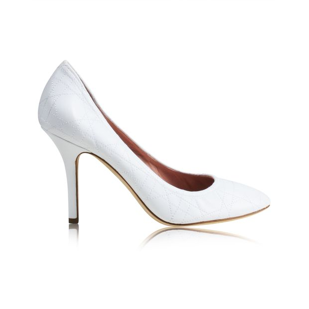 a392be5bc5 White Cannage Quilted Leather Pumps by DIOR | StyleTribute.com