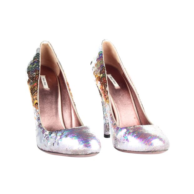 Silver and Gold Sequins Pumps