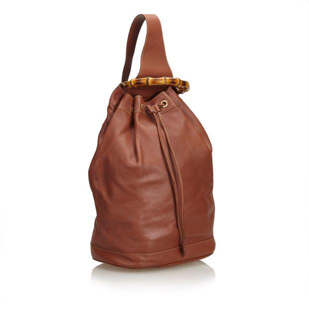 847262f56cf GUCCI Bamboo Leather Drawstring Backpack 1 thumbnail