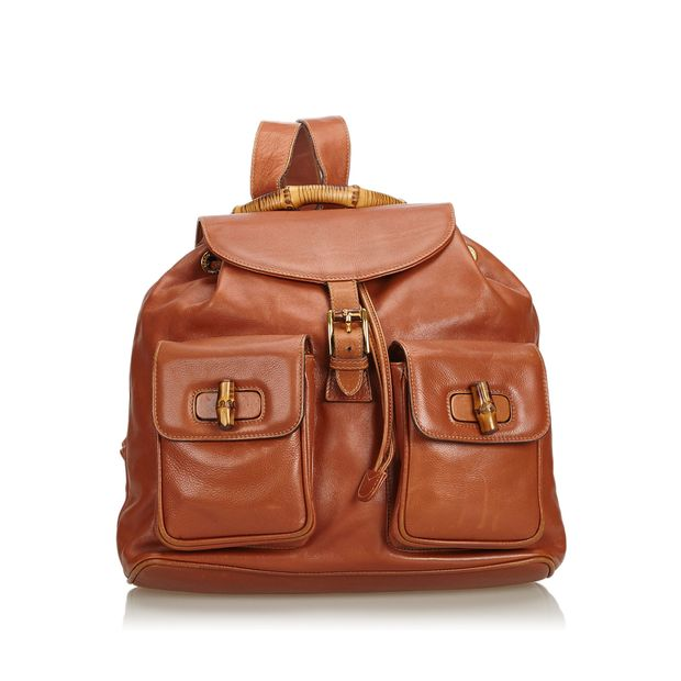 e4cec8a1ab6 Bamboo Leather Drawstring Backpack by GUCCI