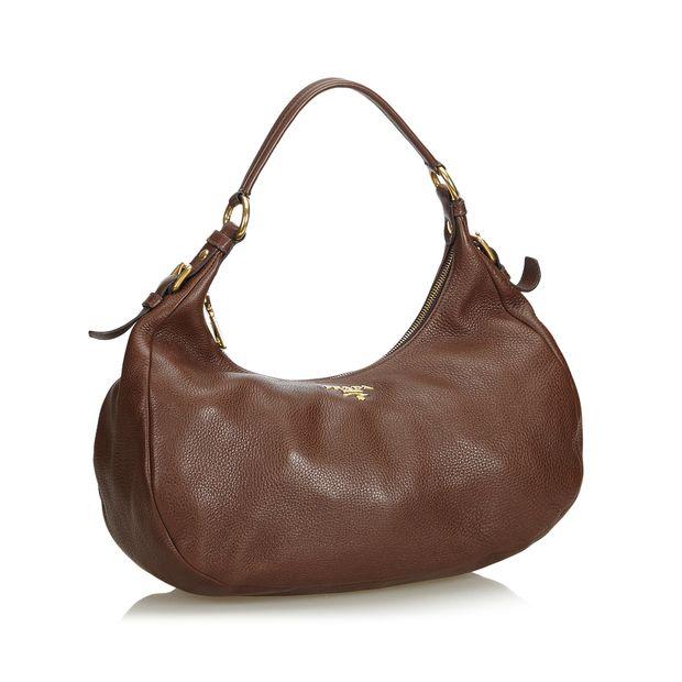 9bab64269ce1 Vitello Daino Leather Hobo Bag by PRADA | StyleTribute.com