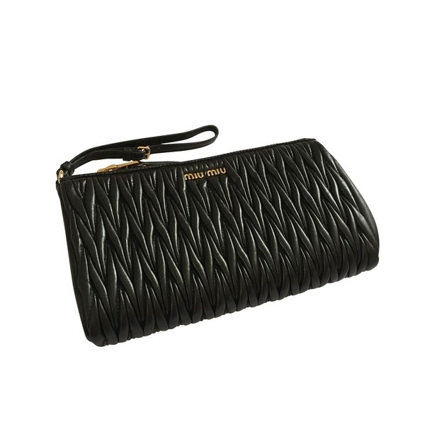 d63c9e927 Matelasse Leather Wristlet Clutch Bag by MIU MIU | StyleTribute.com