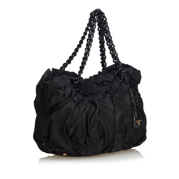 ffaf670f470b Gathered Nylon Chain Tote Bag by PRADA | StyleTribute.com