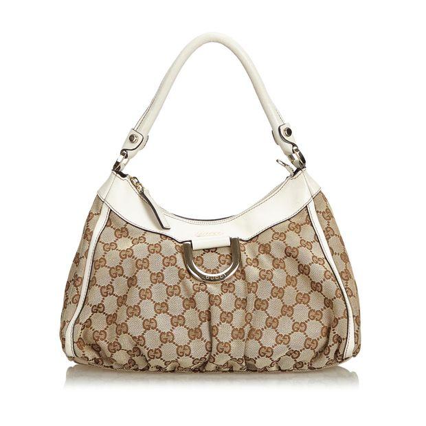 dd66a7a50 GG Jacquard Abbey D-Ring Handbag by GUCCI | StyleTribute.com