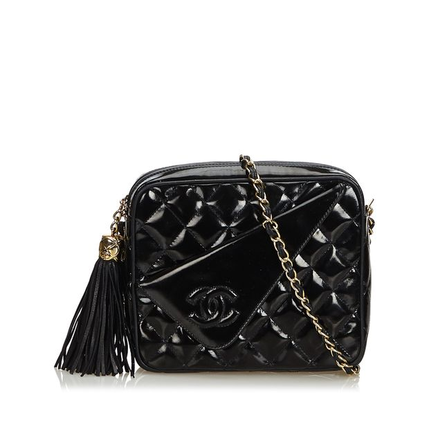 04767b93ed2754 Patent Leather Quilted Chain Camera Bag by CHANEL | StyleTribute.com