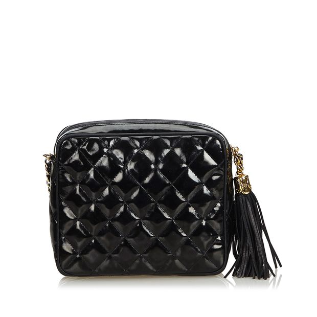 6a3131971aea Patent Leather Quilted Chain Camera Bag by CHANEL | StyleTribute.com