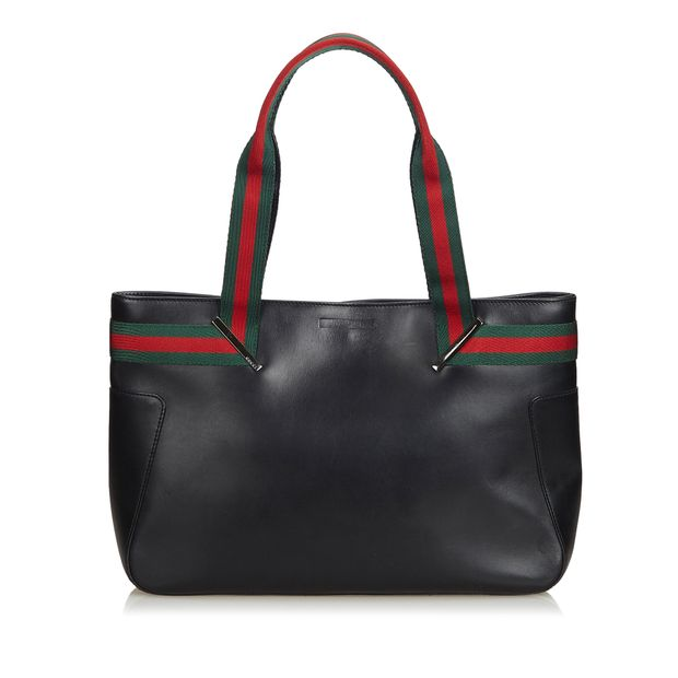c1bc9ff8cd2 Web Leather Tote Bag by GUCCI