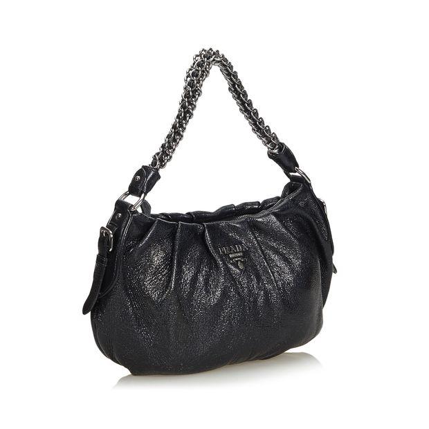 2f435623f70f Leather Chain Shoulder Bag by PRADA | StyleTribute.com
