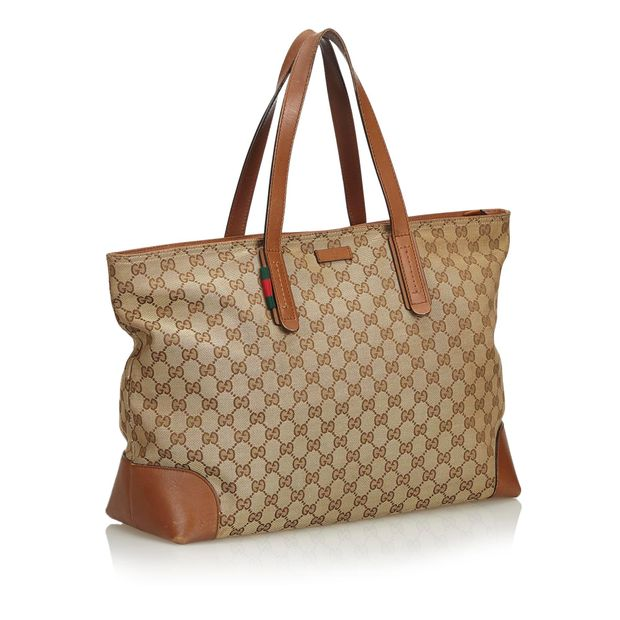 6f1306d7d GUCCI Brown Beige Canvas Fabric GG Web Tote Bag Italy 1 thumbnail