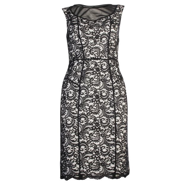 Ivory And Black Lace Dress