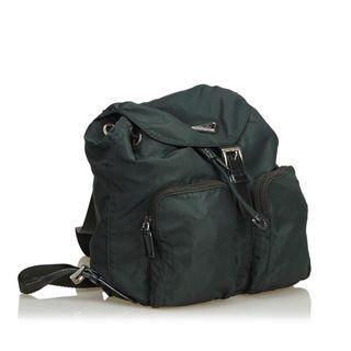 5314661785 SALE: 25% OFF. PRADA. Green Dark Nylon Fabric Drawstring Backpack Italy.  S$990