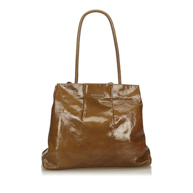 On Clearance matching in colour good quality Brown Dark Patent Leather Tote Bag France