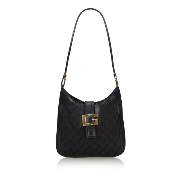 bd8b4cea6 Black Canvas Fabric GG Shoulder Bag Italy by GUCCI | StyleTribute.com