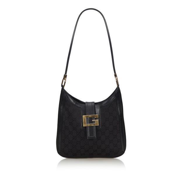 f45fd9f8e Black Canvas Fabric GG Shoulder Bag Italy by GUCCI | StyleTribute.com