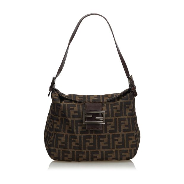 0b6e4bcf Brown with Black Canvas Fabric Zucca Shoulder Bag Italy