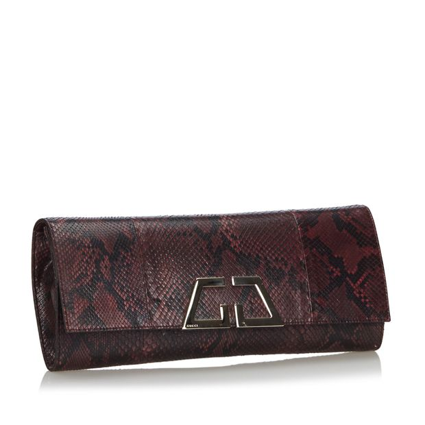 50% price exquisite craftsmanship shop for authentic Red Bordeaux with Black Python Leather G Night Clutch Bag Italy